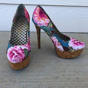 Jessica Simpson floral print waleo heels